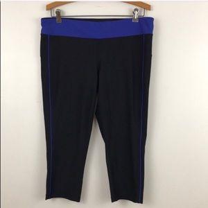 Xersion Black Blue Active Workout Capri Leggings